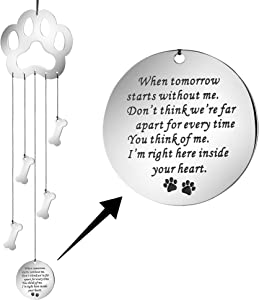 MEMGIFT Dog Memorial Wind Chime Pet Remembrance Gifts Pet Paw Prints Memory for The Garden or Home Sympathy Gift a Grieving Pet Owner