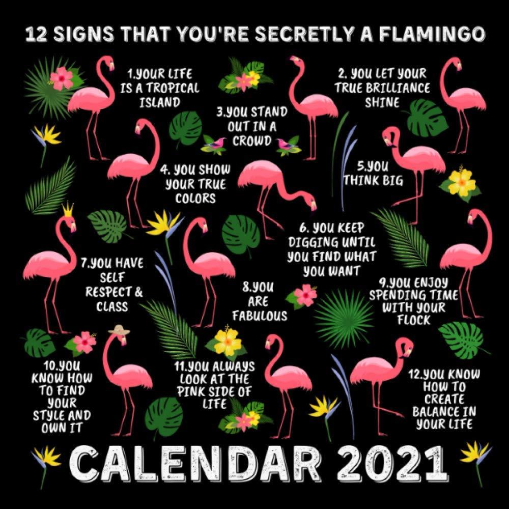 12 Signs That You Re Secretly A Flamingo Calendar 2021 January 2021 December 2021 Monthly Planner Book Calendar With Funny Flamingo Inspirational Quotes Press Secret Signs 9798681119920 Amazon Com Books