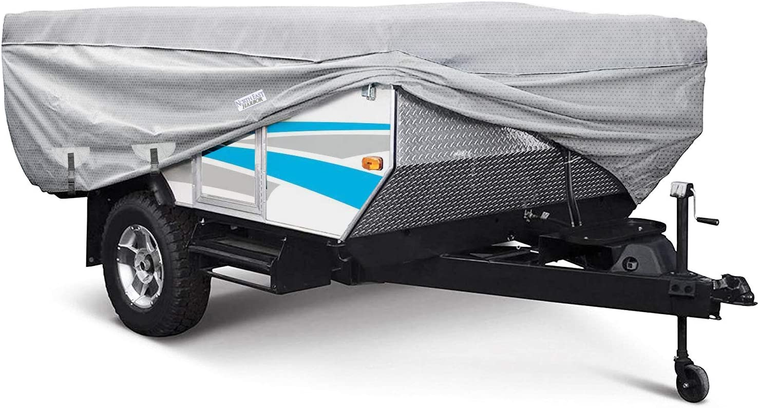 180 L x 88 W x 42 H Waterproof Superior Folding Camping Travel Trailer Storage Cover Fits Length 12-14 Heavy Duty 4 Layer Fabric Pop-Up Tent Trailers Cover