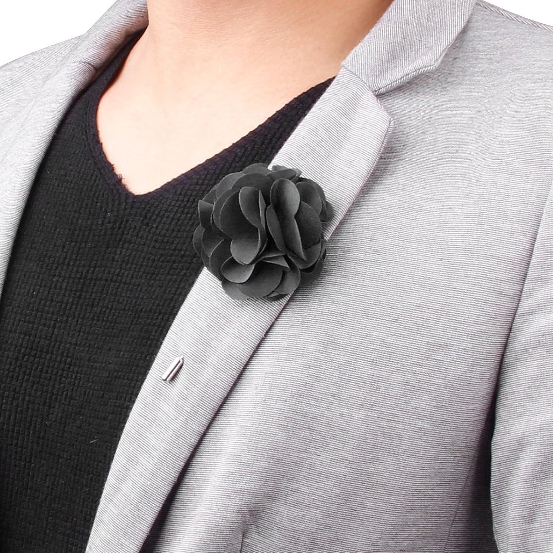 Men\'s Suit Boutonniere Lapel Pin Flower Brooch (Black): Amazon.co ...