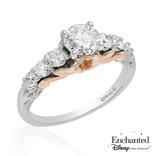 Enchanted Disney Belle Rose Two Tone Diamond Engagement Ring 1 2ctw