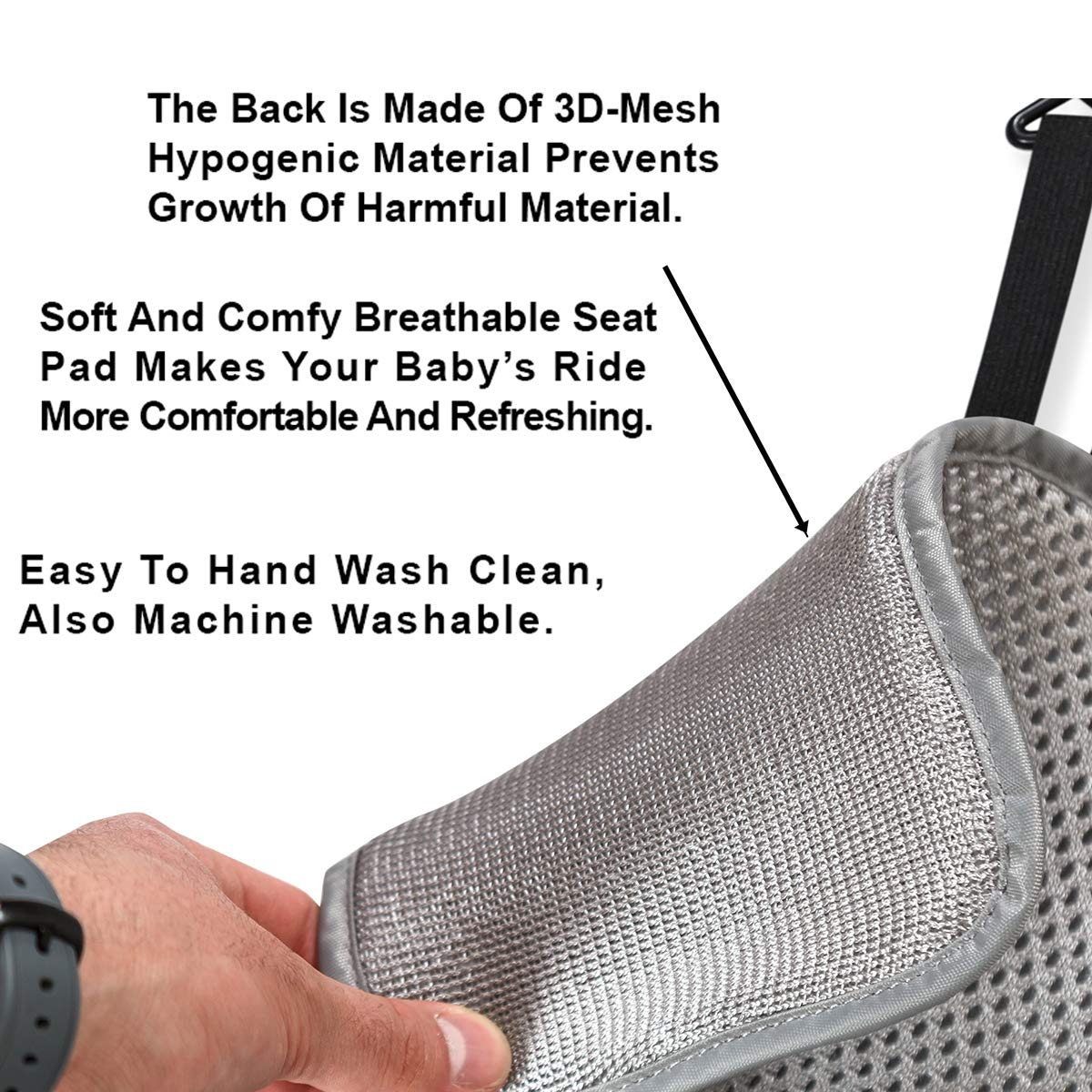 Lebogner 3D Air Mesh Cool Baby Seat Liner for Strollers, Car Seats, Jogger, Bouncer and More, Thick Cushion Seat Pad Protector, Supports Newborns, Infants, and Toddlers, Installs Quick and Easy, Grey by lebogner (Image #4)
