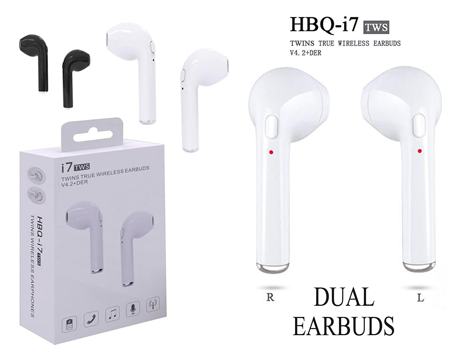 HBQ i7 TWS Twins True Wireless Earbuds Mini Bluetooth: Amazon.in: Electronics
