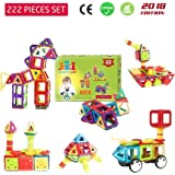 Magnetic Blocks 222 PCS [2018 Edition] - 3D Building Blocks Set with Magnetic Tiles & Storage Box - Intelligence Learning & Brain Training Toys for Kids, Adults -Preschool Educational Construction Kit