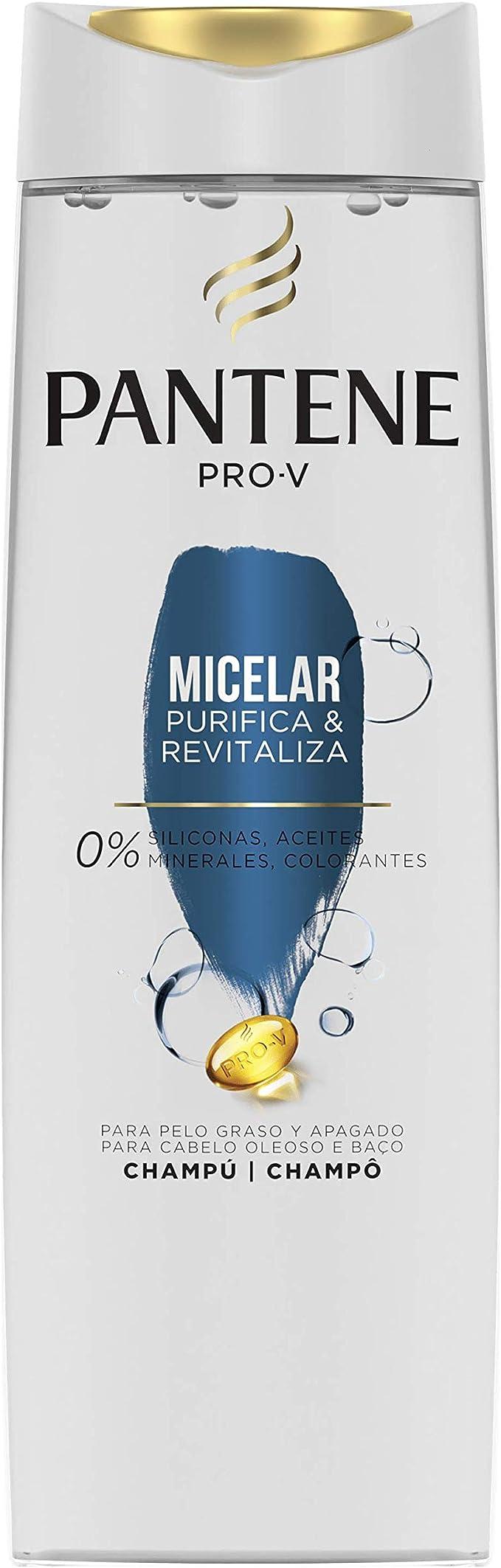 Pantene Pro-V Micelar Purifica & Revitaliza Champú, Revitaliza el Pelo de la Raíz a las Puntas, 360 ml