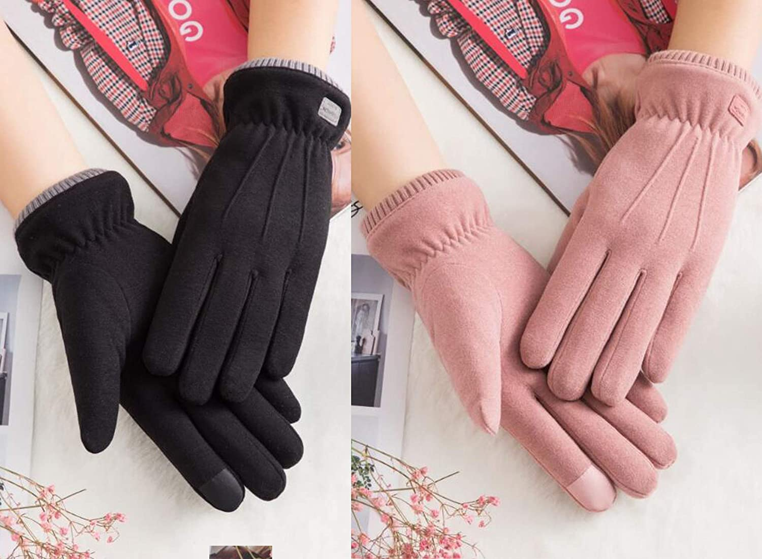 Woogwin 2//4 Pairs Winter Gloves for Women Warm Touchscreen Windproof Fleece Gloves Girls Cold Weather