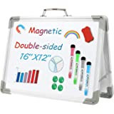 RMAI White Board, Dry Erase Boards Magnetic Whiteboard 16x12 Inch, Foldable Mini Double Sided Portable Whiteboards Easel for