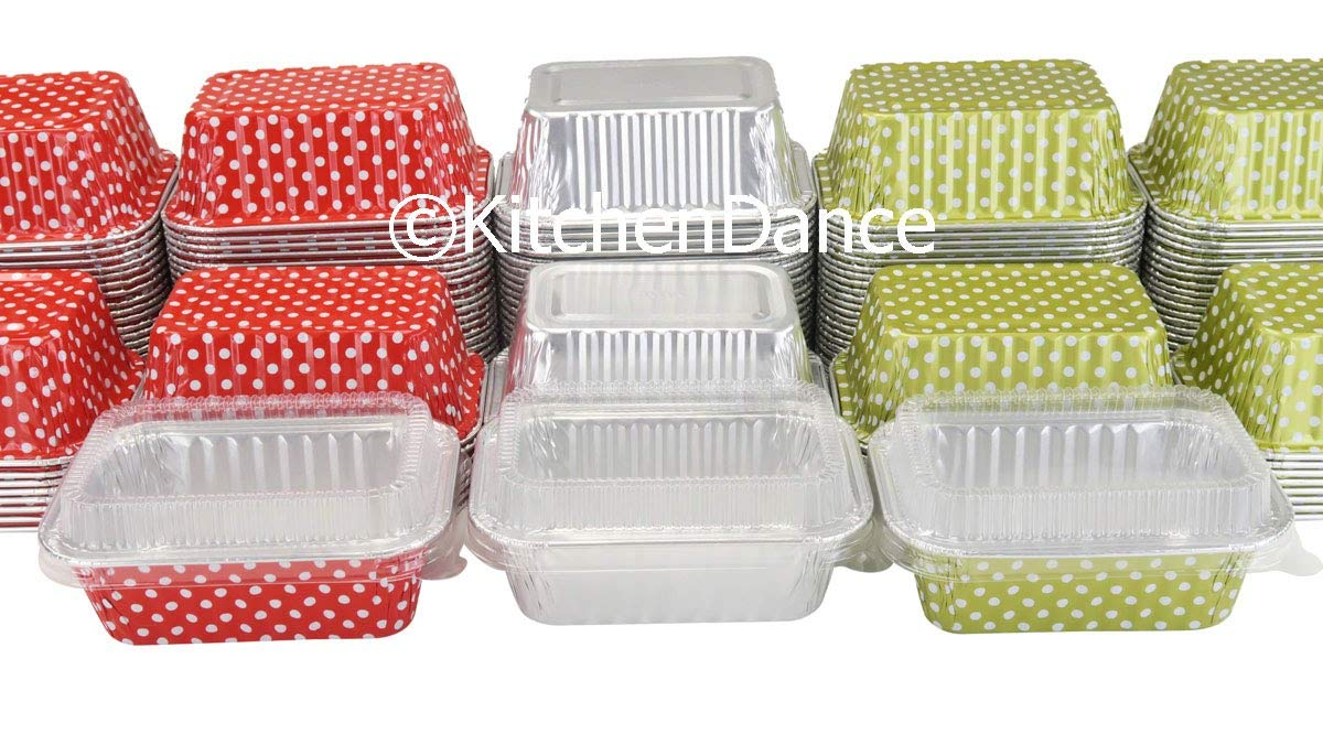 KitchenDance Disposable Aluminum Mini 6 Ounce Individual Sized Loaf Pans #4004 Color & Lid Options (Silver -with Lids, 100) by KitchenDance.com (Image #4)