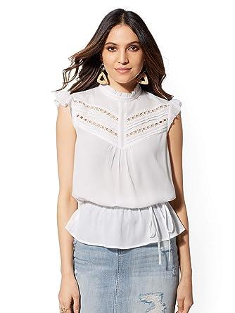 3c17e9a033d0ce Amazon.com: New York & Co. Women's Tall White Peplum Top Large Paper ...