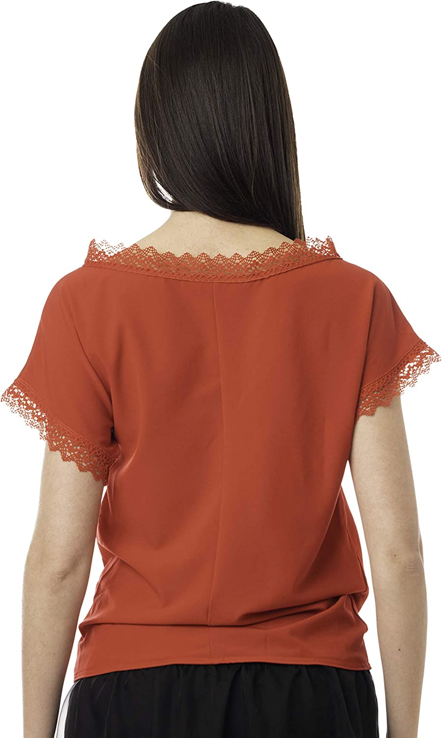Morgan Visioli Fashion Blouse Asymmetric with Plisse' RED Red