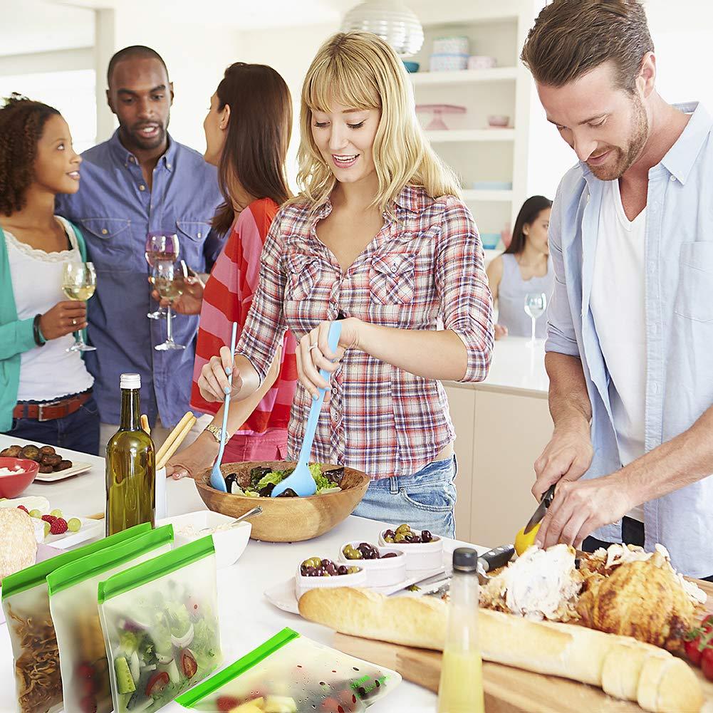 Reusable Storage Bags, SEEOOR Leakproof Freezer Bag, Ziplock Bags BPA Free for Food Snacks, Fruits, veggies, Lunch, Sandwiches, Make-up, Travel (4 Pack)