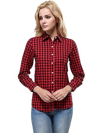 ebc9178e6ba53c XI PENG Women's Feminine Western Red Plaid Checked Blouses Shirt (XX-Small,  Plaid