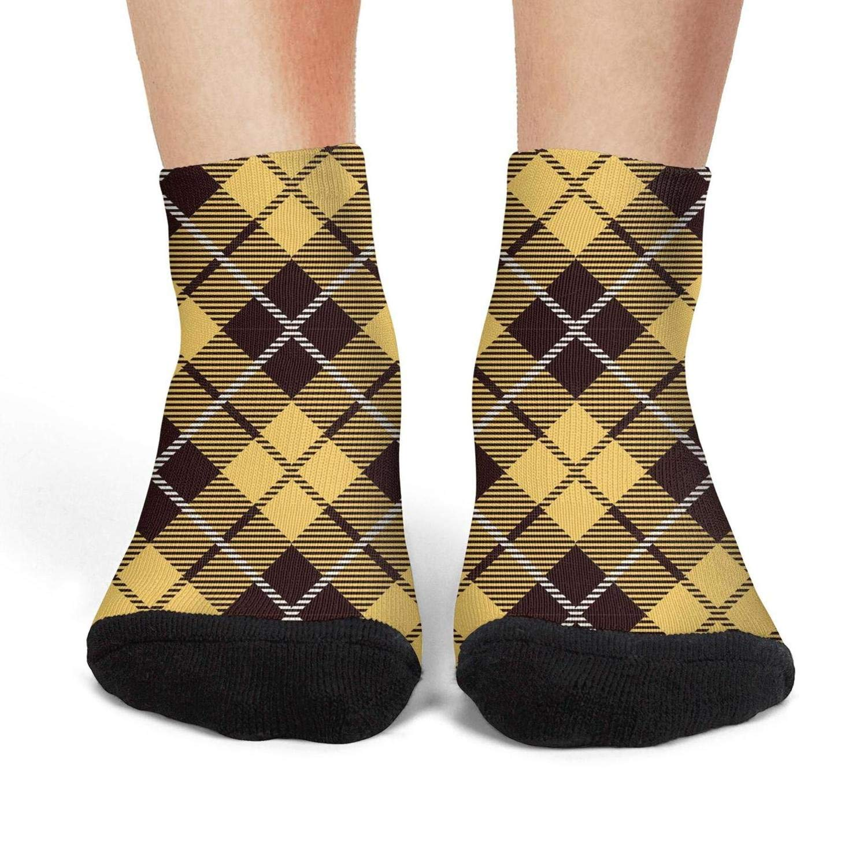 Mens athletic low cut Ankle sock British Plaid Yellow Vintage Non-Slip Cute Short Sock