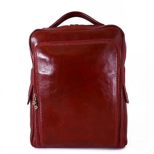 Mochila Para Hombre En Piel Verdadera Con Bolsillo Frontal Color Rojo - Peleteria Echa En Italia - Bolso Espalda: Amazon.es: Zapatos y complementos