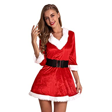 1b6ef6118eb Defitshape Women s Christmas Costume Dress Set Mrs. Santa Claus Red 2 Piece  Petticoat Outfits Red