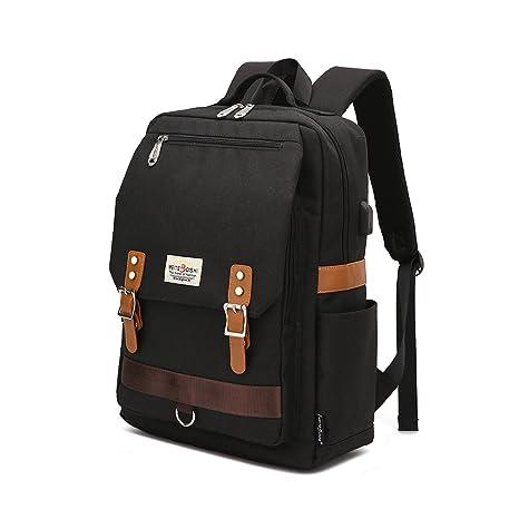Mochila para computadora portátil, mochila escolar para portátil de 15.6 pulgadas con puerto de carga