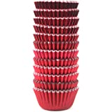 Eoonfirst Mini Foil Metallic Paper Cupcake Cup Liners / Baking Cups 300 Pcs (Red)
