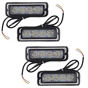 4X 4W White 4-LED Emergency Deck Dash Grille Surface Mount Warning Light Head Exterior 4X White 4-LED Emergency Strobe Light Head Waterproof Surface Mount Deck Dash Grille