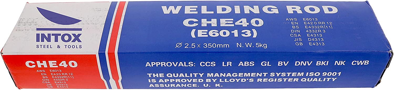 2,5 mm x 350 mm Elettrodi per saldatura 5 kg ca 260 pezzi INTOX E6013 in acciaio