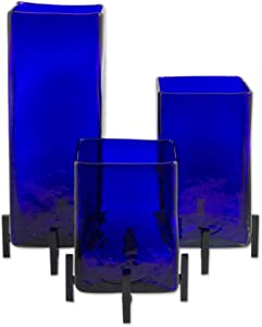 NOVICA Artisan Crafted Hand Blown Blue Glass Rectangular Vases from Mexico 'Blue Hurricane' (Set of 3)