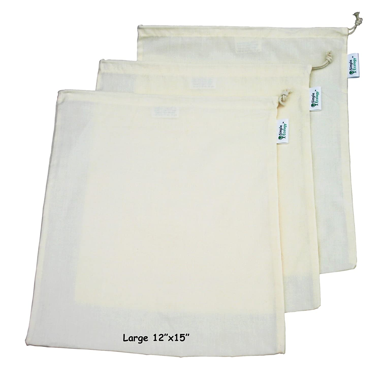 Set of 6 by Simple Ecology Simple Ecology Organic Cotton Muslin Produce Bag 2 each of Lg., Med. /& Sm.