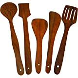 ITOS365 Handmade Wooden Serving and Cooking Spoon Kitchen Utensil Set of 5