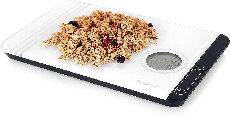 Duronic KS885 Báscula de cocina digital 24x15.5cm - Pantalla LDC - Peso máximo 5kg - Función tara - Mide en gramos, libras, onzas fluidas y mililitros - Color gris