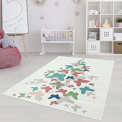 Carpetcity Tapis Pour Enfant Motif Papillons Pastels