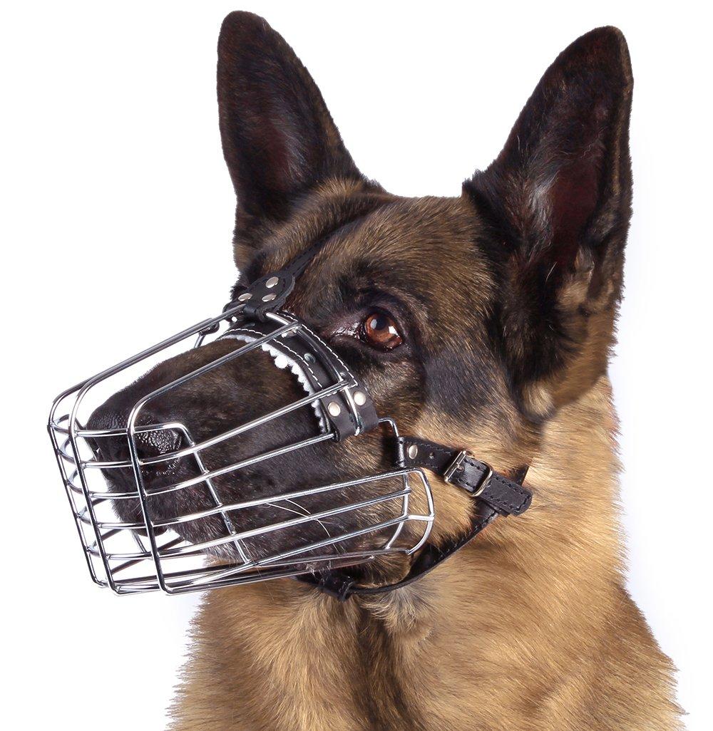 BronzeDog Wire Basket Dog Muzzle German Shepherd Metal Leather Adjustable Large (M)