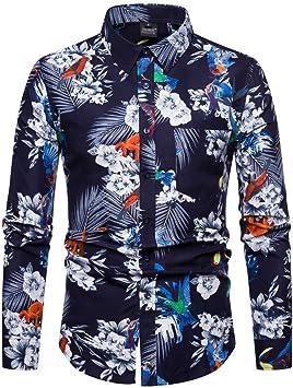 ACZZ Camisa de hombre de manga larga con estampado floral ...