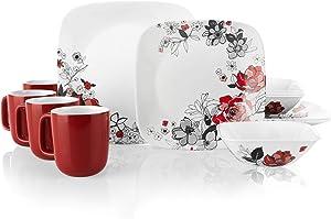 Corelle Boutique Square Chelsea Rose 16-Piece Chip Resistant Dinnerware Set, Service for 4
