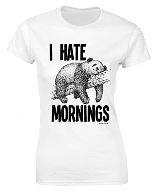 c020d294427 Buzz Shirts I Hate Mornings Funny Panda Ladies T-Shirt Retro Style at  Amazon Women s Clothing store