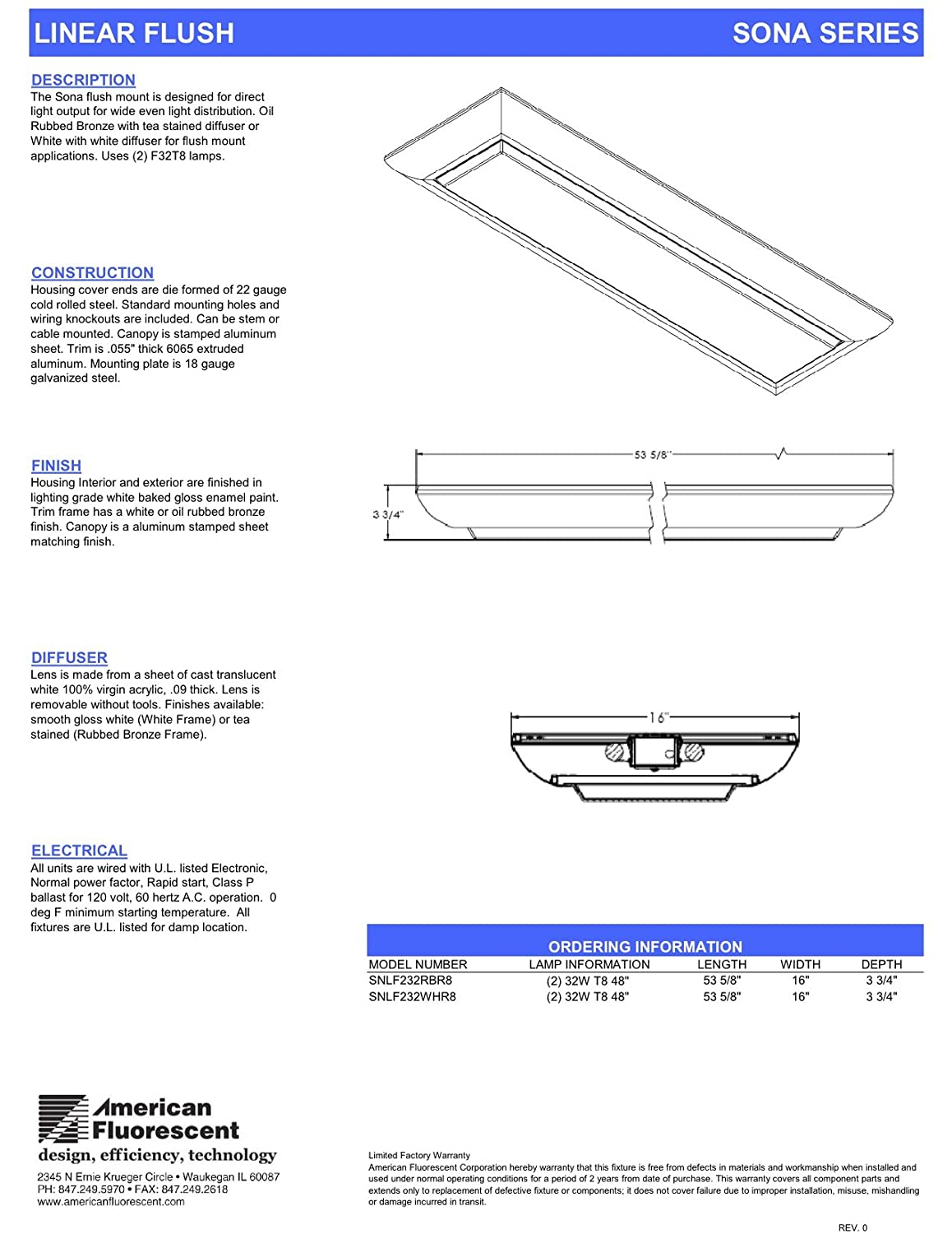 American Fluorescent Snlf232whr8 Sona 4 Decorative Linear Light Rapid Start Ballast Wiring Diagram Flushmount