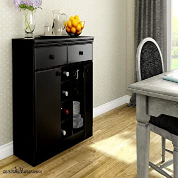 Under TV Credenza With Enclosed Shelves, Pure Black Industial Contemporary  Modern Office Credenza, Entertainment