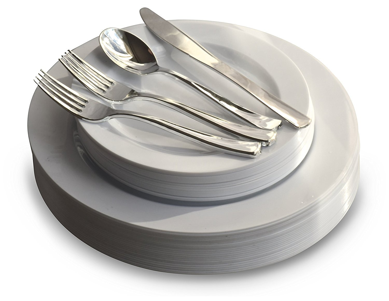 Plain White Plates, Silver silverware 150 pcs (25 sets) 360 PIECE   60 guest  OCCASIONS  Wedding Disposable Plastic Plate and Silverware Combo (White Silver rim plates)