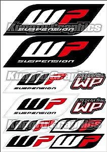 Kungfu Graphics WP Fork Micro Sponsor Logo Racing Sticker Sheet Universal (7.2x 10.2 inch), Black Red