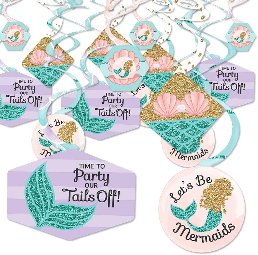 Let's Be Mermaids - Baby Shower or Birthday Party Hanging Decor - Party Decoration Swirls - Set of 40