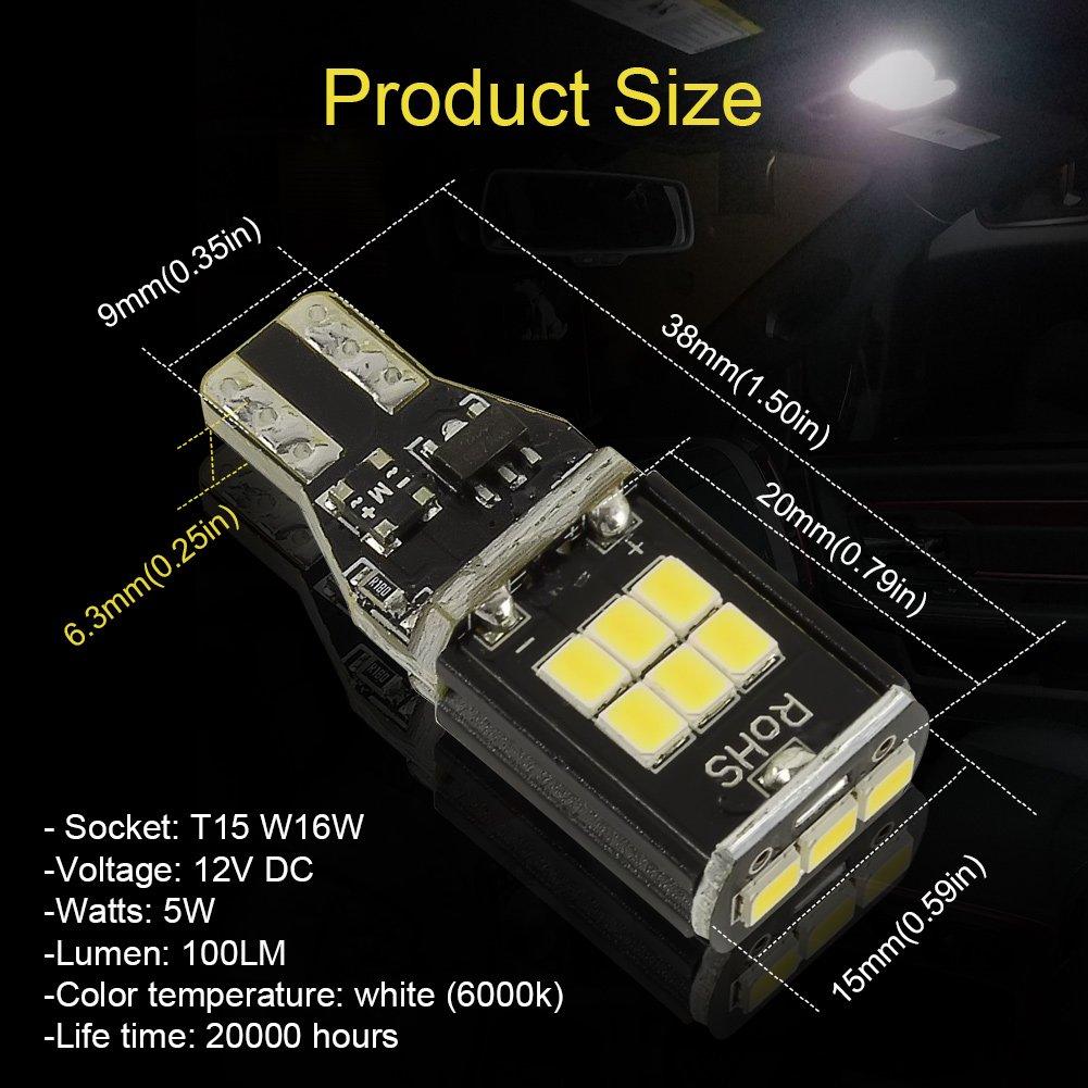 Safego 2Pcs T15 W16W 921 912 LED Car Light Bulb 750Lm 15 3030SMD Chipsets For Backup Reverse Lights Xenono White 6000K T15-15D-3030L