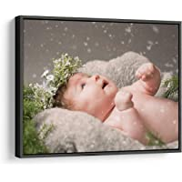 P&L ART. Canvas Prints with Your Photos, Personalized Canvas Wall Art Wedding Baby Dog Family Pictures Home Decor, Customized Gifts with Black Floating Frame 8x8 Inch