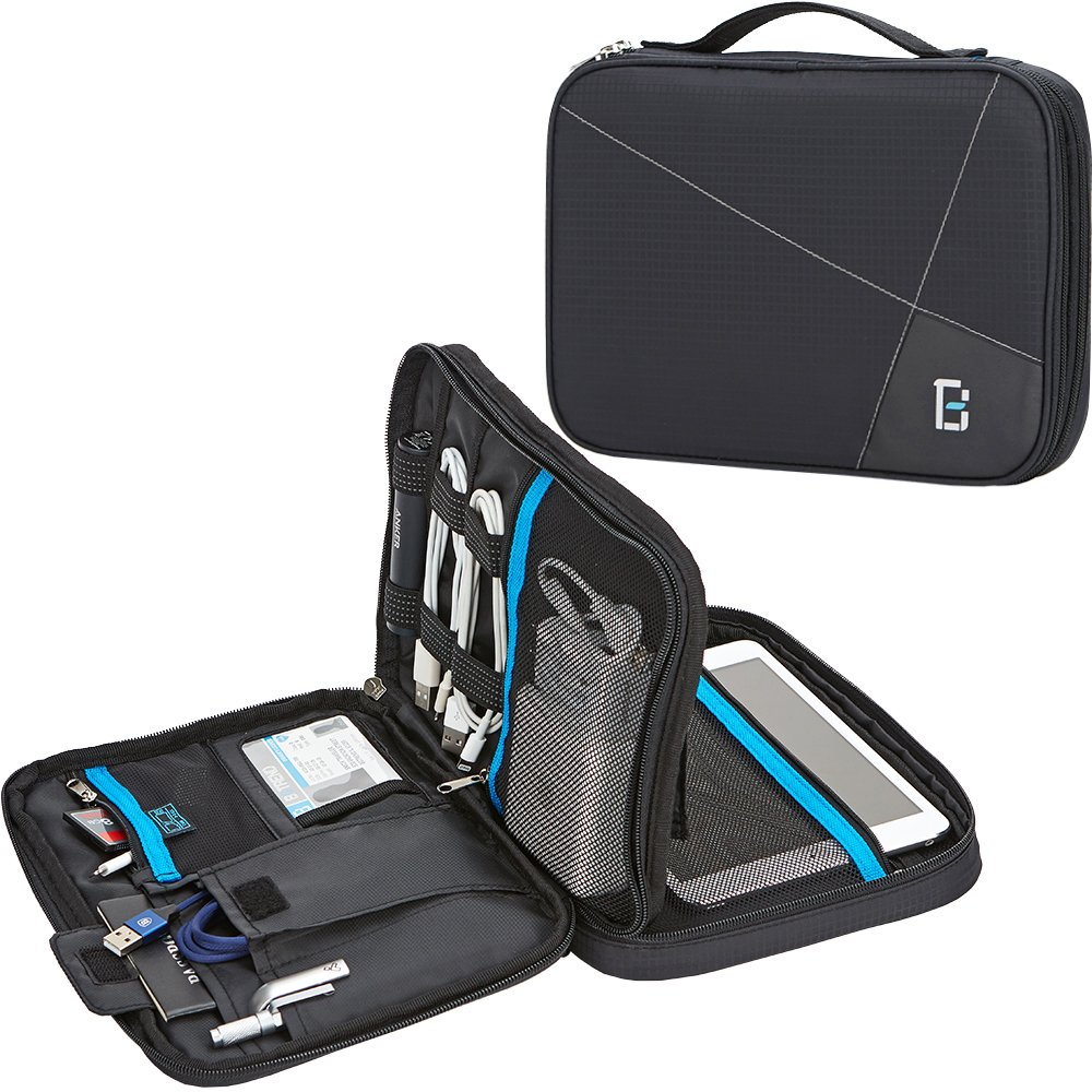 BGTREND Electronic Cord Organizer Travel Cable Bag Water Resistant Double  Layer External Hard Drive Storage Bag
