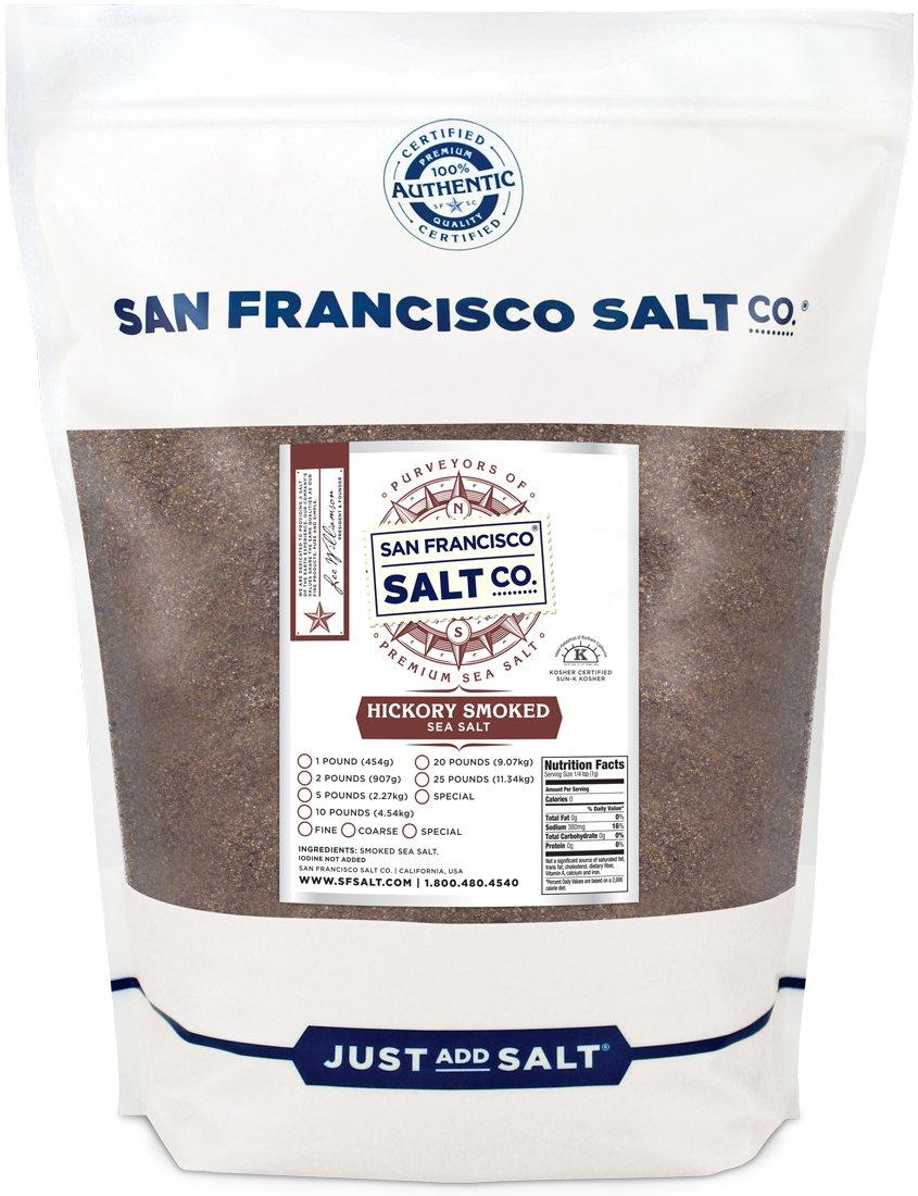 Hickory Smoked Sea Salt 2 lb. Bag - Fine Grain by San Francisco Salt Company