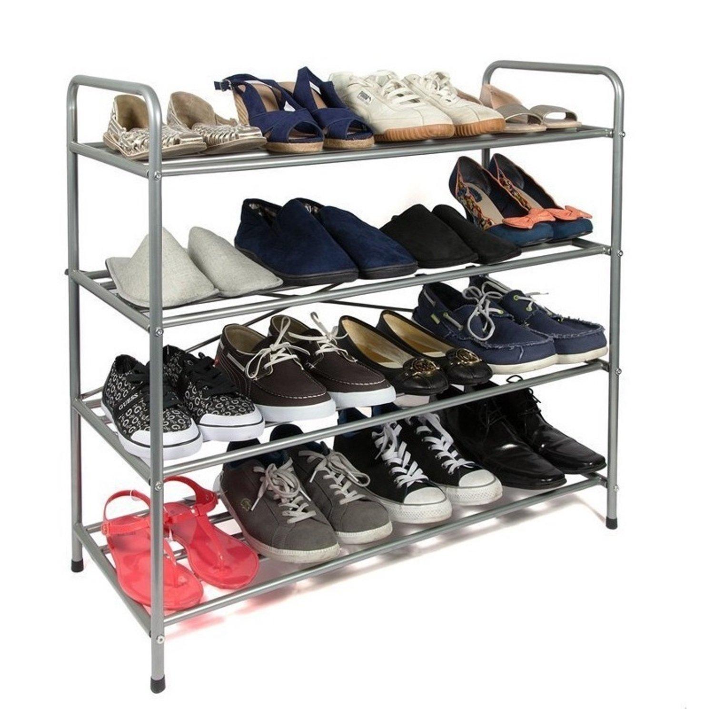EHC 4-Tier Metal Shoe Rack Stand Organiser, Silver Elitehousewares E5-1023