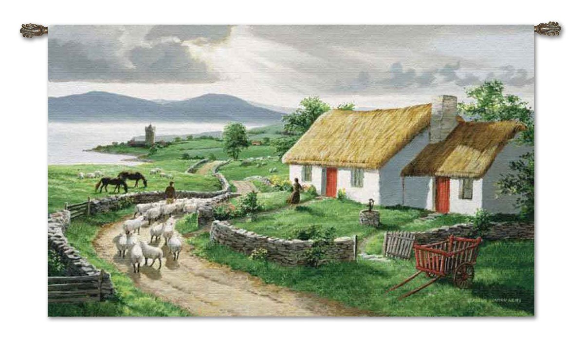 Irish Countryside tapestry with Free Metal Rod - 54'' Wide by 34'' - Made in the USA! by J. Thomas
