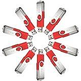 MECO 1gb 10pcs USB 2.0 USB Flash Drive Memory Stick Thumb Pen U Disk Office Gift Light Red