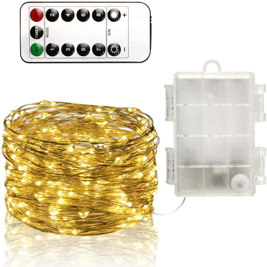 Christmas String Lights Warm White TechCode LED 16.4ft Fairy Lights Waterproof IP65 Battery Operated Copper Wire Light with 8 Modes Remote Control Twinkle Lighting for Indoor Outdoor Decoration