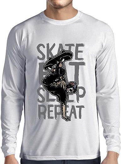lepni.me Camiseta de Manga Larga para Hombre Eat-Sleep-Skate-Repeat para el Amante del monopatín, Regalos del Skater, Ropa Que anda en monopatín