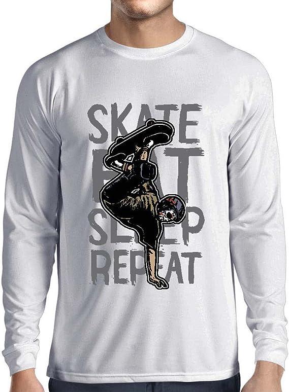 lepni.me Camiseta de Manga Larga para Hombre Eat-Sleep-Skate-Repeat para el Amante del monopatín, Regalos del Skater, Ropa Que anda en monopatín: Amazon.es: Ropa y accesorios