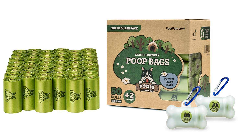 Pogis Poop Bags - Bolsas para excremento de Perro - 50 Rollos (750 Bolsas) + 2 Dispensadores - Grandes, Biodegradables, Perfumadas, Herméticas