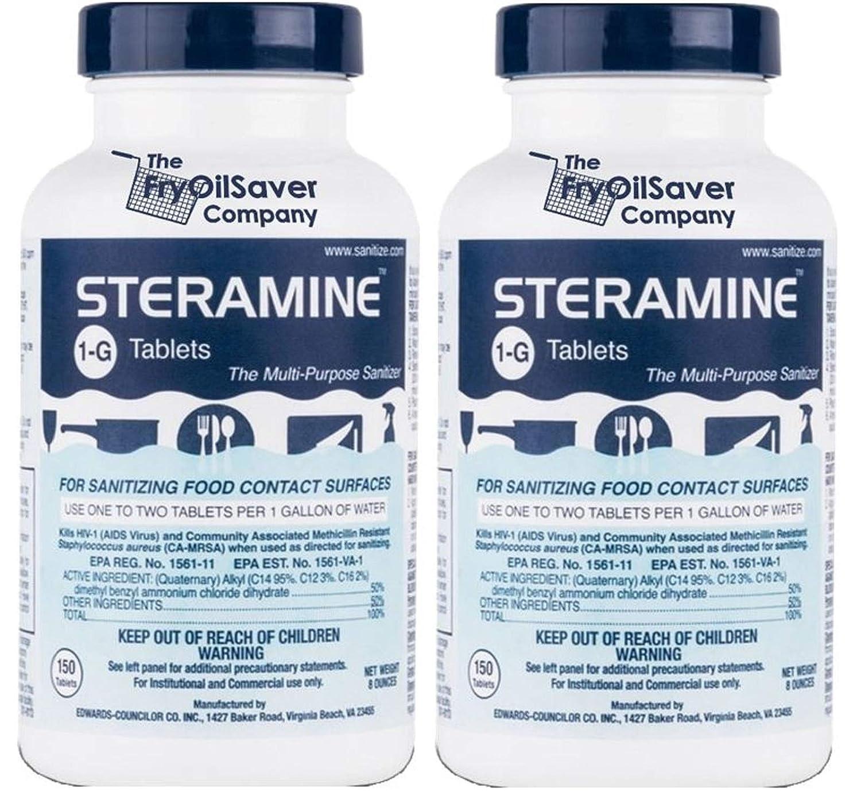 2 x Steramine Bottles of Sanitizing Tablets For Sanitizing Food Contact Surfaces - Kills E-Coli, HIV, Listeria, 1-G, 150 Sanitizer Tablets per Bottle, Blue, Pack of 2 Bottles