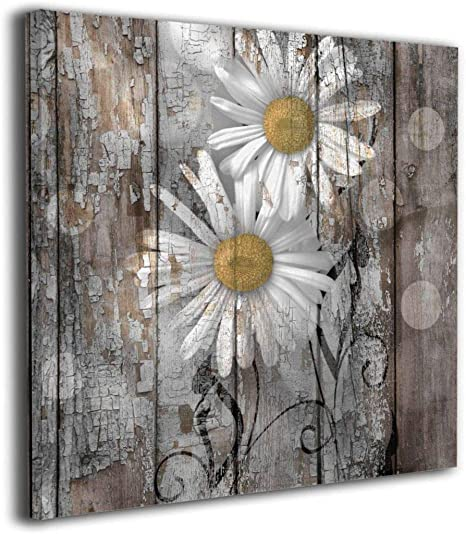 Amazon Com Lureu Rustic Farmhouse Daisy Flowers Country Yellow Brown White 16 X16 Canvas Wall Art Prints Framed Picture Photo Painting Giclee Artwork Modern Gallery Home Decor Ready To Hang Posters Prints